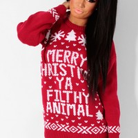 Culkin Red & White Knitted Christmas Print Jumper | Pink Boutique