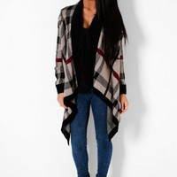 Crackling Beige Tartan Waterfall Knit Cardigan | Pink Boutique