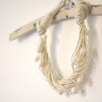 Snowy White Linen Necklace
