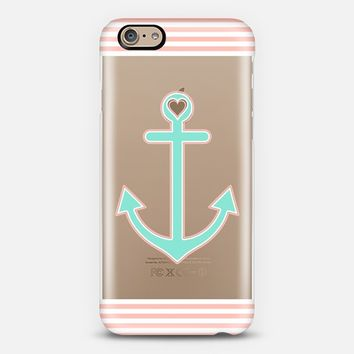 Peach and Mint Nautical Love Transparent iPhone 6 case by Organic Saturation | Casetify