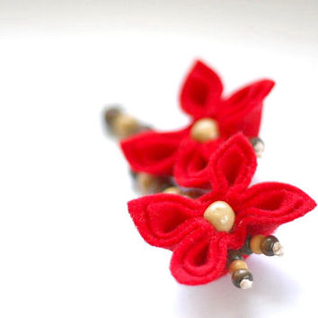 SALE Red Flower Earrings