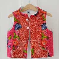 Girls / Kids quilted / padded vest - made with Singapore Batik / Fleece lined