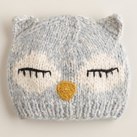 Gray Owl Knit Hat - World Market