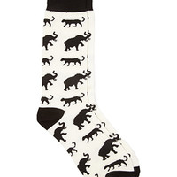 Animal Graphic Socks Black/Cream One