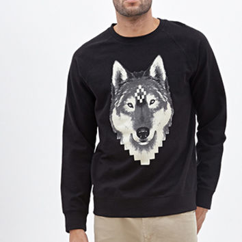 Pixelated Wolf Graphic Sweatshirt Black