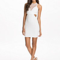 Straps & Cut Out Mesh Bodycon Dress - Club L - White - Party Dresses - Clothing - Women - Nelly.com