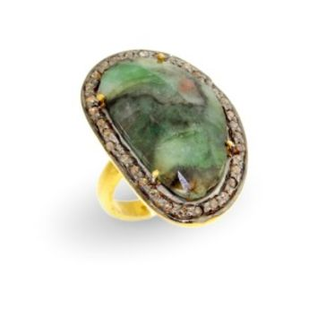 Gold Plated Green Oval Sapphire Ring with Diamond Accents