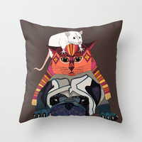 mouse cat pug chocolate Throw Pillow by Sharon Turner | Society6