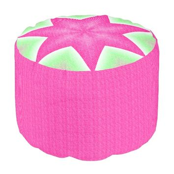 Pink and Green Dots Star Pouf Seat
