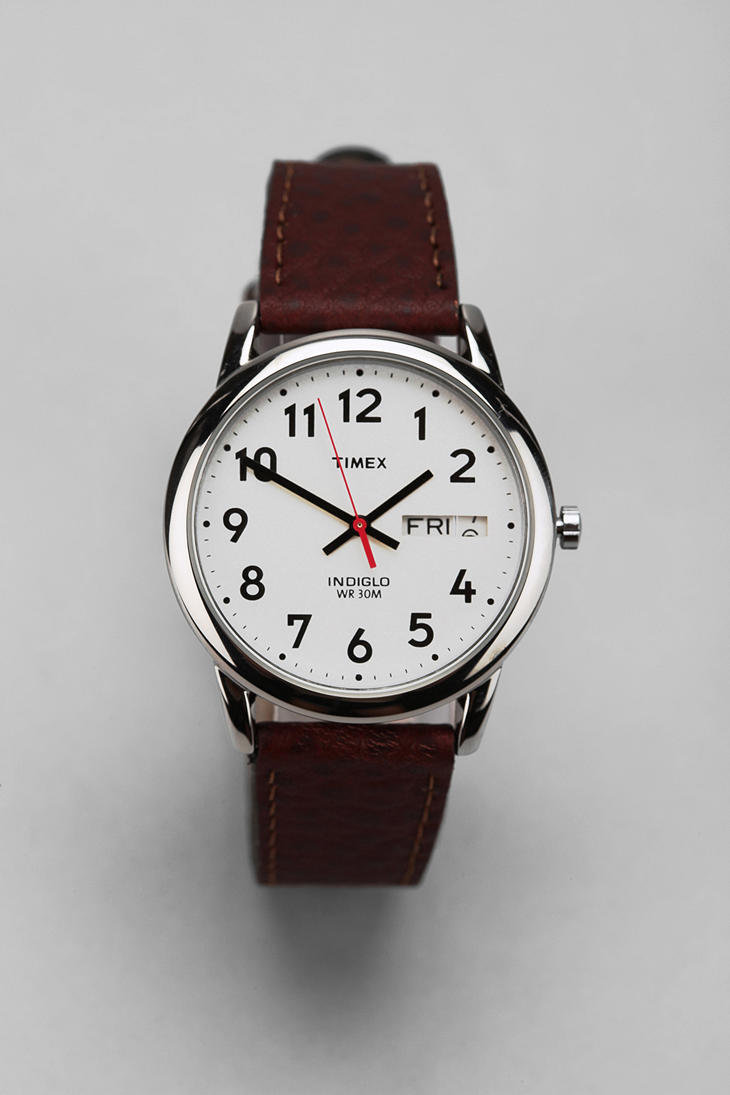 Timex Brown Leather Easy Reader Watch