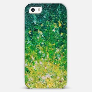 LAKE GRASS - Colorful Grass Kelly Green Citron Lemon Yellow Seaweed Ocean Waves Splash Abstract Ombre Nature Painting iPhone 5s case by Ebi Emporium | Casetify