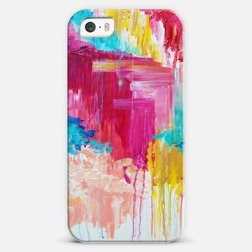 ELATED - Beautiful Bright Colorful Modern Abstract Feminine Pretty Sweet Wild Rainbow Pastel Hot Pink Turquoise Colorful Rain Clouds Girlie Painting iPhone 5s case by Ebi Emporium | Casetify