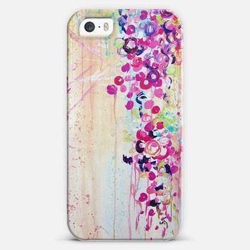DANCE OF THE SAKURA - Lovely Floral Abstract Japanese Cherry Blossoms Flowers Girlie Sweet Spring Nature Romantic Feminine Peach Blue Painting iPhone 5s case by Ebi Emporium | Casetify