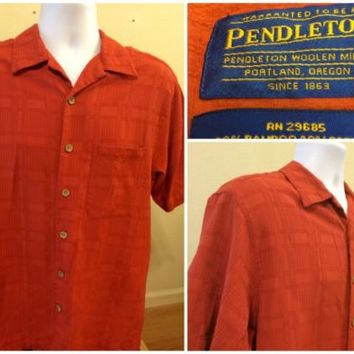 Pendleton Men's Size Large Orange Short Sleeve Button Front Bamboo Cotton Shirt