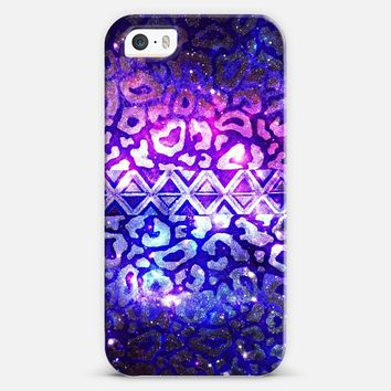 TRIBAL LEOPARD GALAXY - Animal Print Aztec Native Pattern Geometric Violet Plum Purple Blue Ombre Space Galactic Cosmic Stars Abstract Painting iPhone 5s case by Ebi Emporium | Casetify