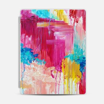 ELATED - Beautiful Bright Colorful Modern Abstract Feminine Pretty Sweet Wild Rainbow Pastel Hot Pink Turquoise Colorful Rain Clouds Girlie Painting iPad 3/4 case by Ebi Emporium | Casetify
