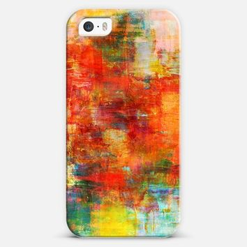 AUTUMN HARVEST - Bold Colorful Abstract Acrylic Painting Fall Season Warn Tones Red Orange Yellow Fine Art Whimsical Splash Chic Stylish Nature iPhone 5s case by Ebi Emporium | Casetify