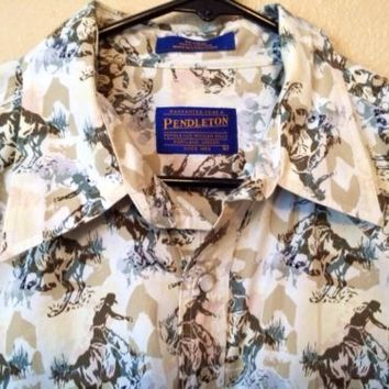 L Pendleton Pearl Snap Short Sleeve Western Rodeo Button Front Shirt 100% Cotton