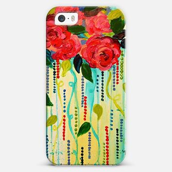 ROSE RAGE - Pretty Colorful Crimson Red Bright Turquoise Blue Aqua Abstract Roses Floral Bouquet Whimsical Girlie Flowers Painting iPhone 5s case by Ebi Emporium | Casetify