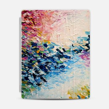 PARADISE DREAMING - Lovely Tropical Island Dreams Whimsical Colorful Bold Rainbow Pastel Abstract Lagoon Nature White Pink Blue Painting iPad 3/4 case by Ebi Emporium | Casetify