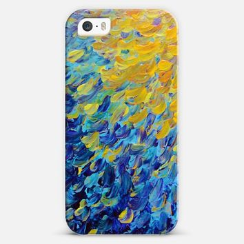 AQUATIC MELODY - Lovely Bright Abstract Ocean Waves Acrylic Deep Indigo Royal Blue Sea Turquoise Sunshine Yellow Colorful Rainbow Beach Painting iPhone 5s case by Ebi Emporium | Casetify