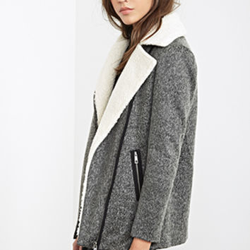 FOREVER 21 Faux Shearling Collar Marled Jacket Heather Grey