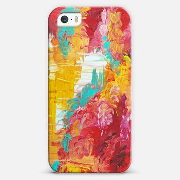 AUTUMN SKIES - Vibrant Fall Sky Clouds Fluffy Colorful Red Crimson Magenta Ochre Yellow Cream Stormy Rain Raining Colorful Abstract Nature Painting iPhone 5s case by Ebi Emporium | Casetify