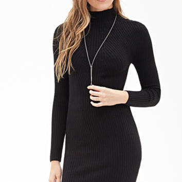 LOVE 21 Ribbed High-Neck Sweater Dress