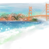 """Golden Gate"" Digital Art Print Art Print by Sheri Gruver 