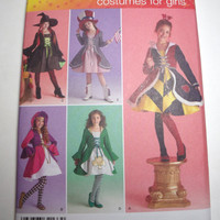 New Simplicity Pattern Halloween Costume Girls sizes 7 8 10 12 14 witch red riding hood queen of hearts