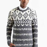 CPO Engineered Pattern Crew Neck Sweater - Urban Outfitters