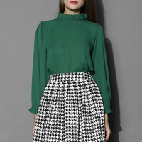 Ruffle Trimmed Crepe Top in Emerald Green S/M