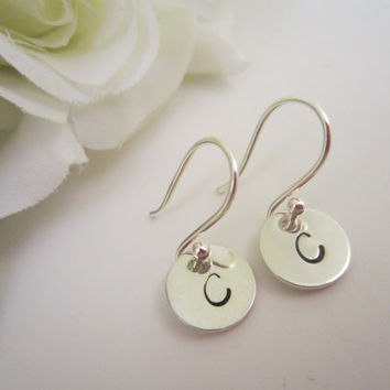 Tiny Initial Earrings Hand Stamped in Sterling Silver-Bridal Party Bridesmaid Jewelry Gift-Petite Initial Jewelry