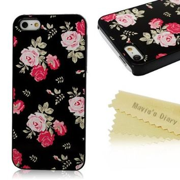 Mavis's Diary Flower Design Slim PC Case Cover for Iphone 5 5s with Soft Clean Cloth (Pattern-3)
