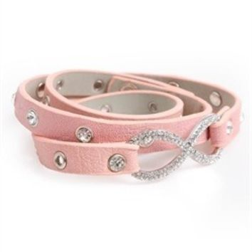 Light Pink Rhinestoned Infinity Bracelet