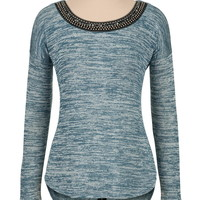Embellished knit top with zipper back