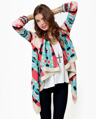 Cozy Cardigan Sweater - Southwest Print Sweater - Open Sweater - $56.00