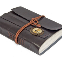 Dark Brown Faux Leather Journal with Dragonfly Cameo Bookmark