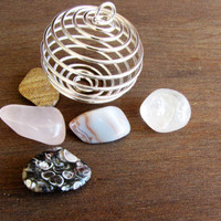 Silver Spiral Ball Pendant 5 Gem tumbled stones Container Handmade Necklace Jewelry Supply