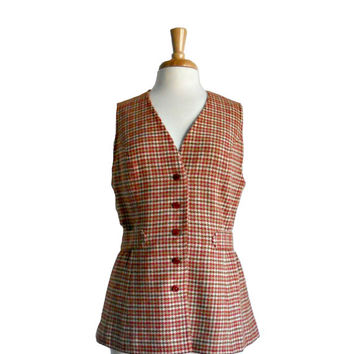 Vintage 1970s Vest Pendleton Wool Plaid Outerwear Button Down with Belt Detail  Orange, Brown, and Cream - Size 16