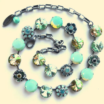 "NEW, Swarovski crystal necklace, ""Fiji"" 12mm Pacific opals, gorgeous greens and flower accents, Siggy necklace"