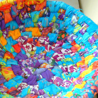 Bali Toy Bowl - Rainbow Storage Batik fabric Basket - Medium