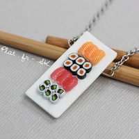 Miniature Sushi Necklace - Miniature Food Jewelry - Sushi Collection