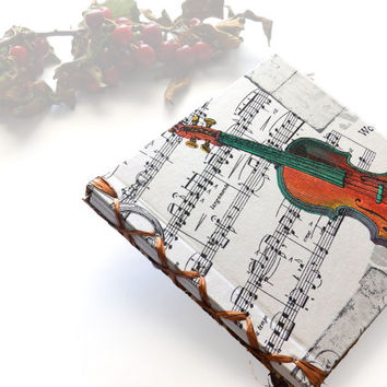 Blank Music Book Manuscript Book Music Notebook, Music Journal, Musicians Book, music notes Violin Gift for Her, gift for  Him. Hand Bound