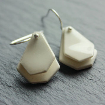 Ceramic handmade white dangle earrings