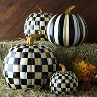 MacKenzie-Childs Courtly Check & Courtly Stripe Pumpkins