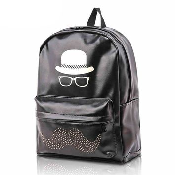 CrazyPomelo Preppy Look Hat Glasses Pattern PU Leather Backpack / School Bag With Rivets Moustache