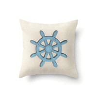 Nautical Pillow Cover, Rustic Blue Ships Wheel on sand colored background, indoor or outdoor in 16 x 16, 18 x 18 or 20 x 20 inch
