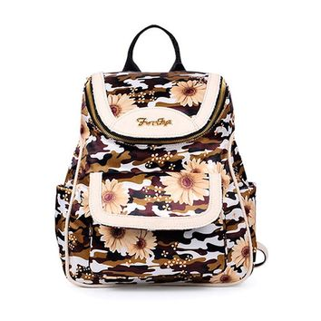 CrazyPomelo Women's Vintage Sunflower Camouflage Cow Leather Backpack