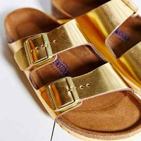 Birkenstock Arizona Soft Footbed Gold Metallic Slide Sandal- Gold